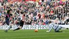 Newcastle's Fabricio Coloccini concedes a penalty against Sunderland. Photograph:  Andrew Yates/Reuters