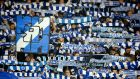 Dynamo Kiev fans during their Champions League meeting with Chelsea. Photograph: John Sibley/Reuters