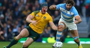 David Pocock and Juan Martin Fernandez Lobbe  in last week's semi-final: Pocock  gave a wonderful display of thievery against Argentina. Photograph: Stu Forster/Getty Images