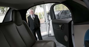 On his tour of the Google project,  President Higgins took great interest in Google's driverless car, inspecting the exterior while his wife Mrs Sabina Higgins sat inside to check out the interior.