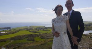 Before the reception in a marquee at The Castle in Castletownshend, Veronica and Neil climbed to a local Bronze Age fort for photographs.
