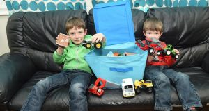 Alex, aged 7, and Jake, aged 4, with their Share Box, one of the many tips their mother, Donna, picked up at the Parenting Plus course in Ballybay Co Monaghan. Photograph: Philip Fitzpatrick