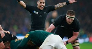 Scrumhalf Aaron Smith's dynamic contributions have enabled New Zealand to play with the fast tempo that has become their hallmark. Photograph:   Phil Walter/Getty Images