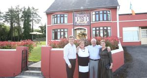 Fáilte: Daniel and Majella O'Donnell with B&B owners Anne and Noel Sheerin, in Tulsk, Co Roscommon, for Daniel and Majella's B&B Road Trip