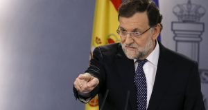 Spain's prime minister Mariano Rajoy is meeting the leaders of the  Ciudadanos and Podemos parties on Friday as he tries to build an alliance against Catalan secession.  Photograph: Juan Medina