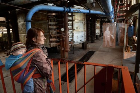 Jane Schreiber-Campbell and son Charlie Campbell during a visit to Knappenrode Briquette factory and Museum.  Photograph:Frank Miller  / The Irish Times