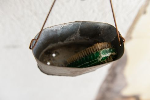 A nail-brush in a tin inside the shower area at Knappenrode Briquette Factory and Museum. Photograph:Frank Miller  / The Irish Times