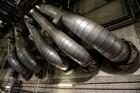 Giant ducts at Schwarze Pumpe Power Station which converts lignite (brown coal) to electricity using steam turbines.  The modern power plant welcomes visitors by appointment or on Saturday tours. Photograph:Frank Miller  / The Irish Times