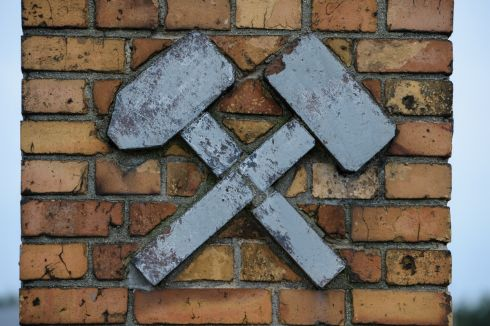Mining symbol on a brick gate near Knappenrode Briquette Factory and Museum.  Photograph:Frank Miller  / The Irish Times