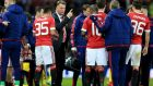 Manchester United manager Louis Van Gaal gives instructions to his players. Photograph: Nigel French/PA