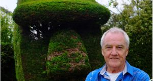 Colm Hughes with his Easter Island head topiary. Photograph: Bryan O'Brien
