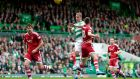 Leigh Griffiths scores Celtic's opening goal in the Scottish Premiership match against Aberdeen at Celtic Park. Photograph: Graham Stuart/Action Images via Reuters/Livepic