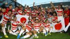 Japan players celebrate their momentous victory over South Africa in the pool section – the Brave Blossoms missed out on a place in the quarter-finals but won the hearts of the rugby world. Photograph: Getty Images
