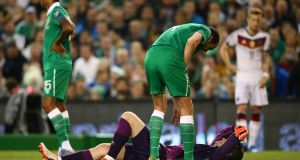 Ireland goalkeeper Shay Given goes down injured during the Euro 2016 qualifier against Germany at the Aviva Stadium. Photo: Cathal Noonan/Inpho