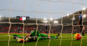 Bournemouth's Adam Federici looks dejected after Southampton's Steven Davis scores their first goal. Photograph: Eddie Keogh/Reuters