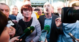 Joan Collins TD and Paul Murphy TD after they appeared in court in connection to water charges protests. Photograph: Courts