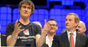 Paddy Cosgrave, co-founder of the Web Summit with Taoiseach Enda Kenny at the event last year. Mr Kenny will not be attended the event this year, the last in Ireland for at least three years. Photograph: Eric Luke/The Irish Times