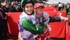 Michelle Payne celebrates her Melbourne Cup win with her brother Stevie. Photograph: Getty