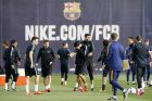 Barcelona's players attend a training session at the Joan Gamper training camp, on the eve of their Champions League group soccer match against Bate Borisov. Photograph: Albert Gea/Reuters