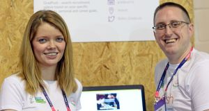Roisin Hynes , managing director, and Graham Hynes, operations director, of GradPush, at the Web Summit 2015. Photograph: Eric Luke / The Irish Times