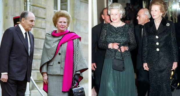 Late Former British Prime Minister Margaret Thatcher With Some Of Her Handbags Photographed