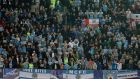 Manchester City fans at the Estadio Sanchez Pizjuan in Sevilla. Photograph: Marcelo Del Pozo/Reuters