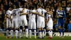 Leeds United players huddle ahead of the Sky Bet Championship match against Blackburn Rovers. Photograph: Nigel Roddis/Getty Images