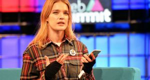 Model Natalia Vodianova speaking on 'challenging misconceptions' at the Web Summit. Photograph: Eric Luke