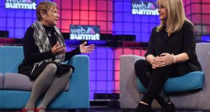 Jacki Ford Morie, chief scientist at The Augmented Traveler, in conversation with Mary Aiken, director of the RCSI, on the Centre Stage during day two of the 2015 Web Summit in the RDS, Dublin, Ireland. Photograph: Stephen McCarthy/Sportsfile