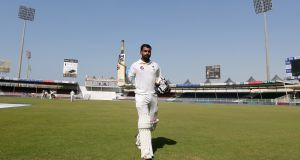 151 from Mohammad Hafeez helped Pakistan set England a target of 284 to win the third Test match in Sharjah and level the series at 1-1. Photograph: Reuters