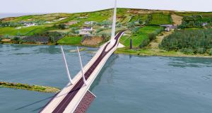 Artist's impression of the Narrow Water Bridge project, which will link Omeath in Co Louth with Warrenpoint in Co Down. Photograph: Louth Council/PA Wire