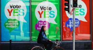 Yes Equality: Yes posters in a Dublin shop window. Photograph: Peter Morrison/PA