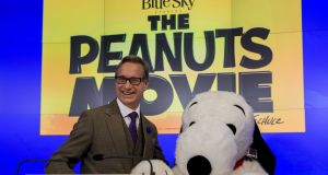 Paddy Cosgrave's immediate predecessor as Nasdaq bell-ringer was the cartoon character Snoopy, Charlie Brown's pet dog in the Peanuts comic strip film The Peanuts Movie. Photograph: Brendan McDermid/Reuters