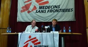 General director of Médecins Sans Frontières (MSF), or Doctors Without Borders, Christopher Stokes (right) speaks as head of the  Kunduz incident management team Michiel Hofman  looks on during a press conference in Kabul on November 5th, 2015. Photograph: Aref Karimi/AFP/Getty Images