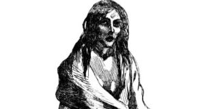 A Famine-era illustration of Bridget O'Donnel from Co Clare, who , the mother in the illustration, Bridget O'Donnel, who lost her 13-year-old son to fever in the Famine.