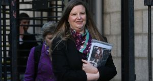 Lesley Renton of Tron Theatre Ltd (Scotland) pictured leaving the Four Courts. Photograph: Courts Collins
