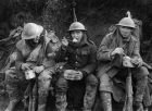 British soldiers eating hot rations in the Ancre Valley during the Battle of the Somme, October 1916. Photograph: Lt E Brooks/IWM via Getty Images