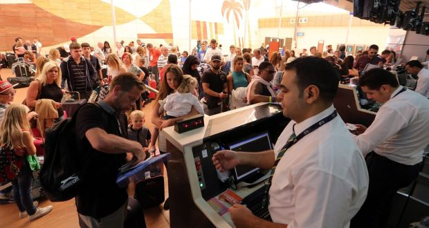 Tourists gather at check-in counters at Sharm el-Sheikh airport yesterday. Photograph: Khaled Elfiqi/EPA