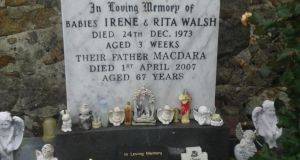 The gravestone in Maínis in south Connemara of babies Irene and Rita Walsh who died on Christmas Eve 1973