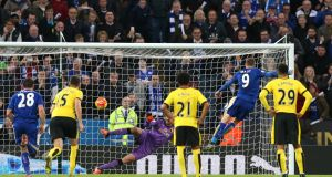 Jamie Vardy fires home Leicester City's second goal from the penalty spot during the Premier League game against Watford at the King Power Stadium. Photograph: Alex Morton/Action Images via Reuters/Livepic