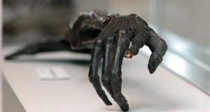 Tthe mummified right hand of Dan Donnelly from the exhibition, entitled The Fighting Irishmen: Celebrating Celtic Prizefighters 1820 to Present. Photograph: Morgan Treacy/Inpho