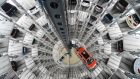 Volkswagen cars on a delivery tower at the Volkswagen plant in Wolfsburg, Germany. Photograph: Fabian Bimmer/Reuters
