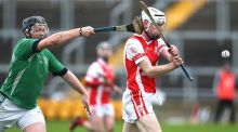 Coolderry's Joe Brady challenges Colm Cronin of Cuala during the Leinster Senior Hurling Club  Championship Quarter-Final at O'Connor Park, Tullamore yesterday Photograph: Inpho