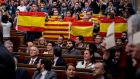 The independence initiative has deeply divided the Catalan parliament, which passed a motion declaring the start of the secession process. Photograph: David Ramos/Getty Images