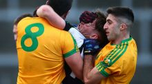Killarney Legion and  South Kerry players scuffle at end of Sunday's drawn country final.   Munster Council has decided Legion are entitled to represent Kerry in Munster club championship.  Photograph: Cathal Noonan/Inpho