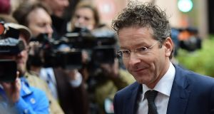 Eurogroup president and Dutch finance minister Jeroen Dijsselbloem arriving for a Eurogroup finance ministers' meeting in Brussels on Monday. Photograph: AFP Photo/Emmanuel Dunand
