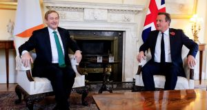Beyond the bonhomie, Taoiseach Enda Kenny and British prime minister David Cameron hope to leverage their close relationship to their mutual advantage as Britain seeks to renegotiate its relationship with the European Union. Photograph: Jonathan Brady/PA Wire