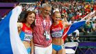Mariya Savinova  and Ekaterina Poistogova  of Russia celebrate with  coach Vladimir Kazarin after placing first and third respectively in the women's 800m final at  London 2012. All three have been recommended for lifetime bans in the Wada report. Photograph: Kerim Okten/EPA.