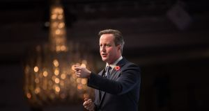 David Cameron speaks during the Confederation of British Industry's annual conference in London on Monday. Photograph: Simon Dawson/Bloomberg
