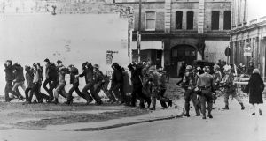British paratroopers take away civil rights demonstrators on Bloody Sunday after the paratroopers opened fire on a civil rights march, killing 14 civilians. Photograph: Getty Images